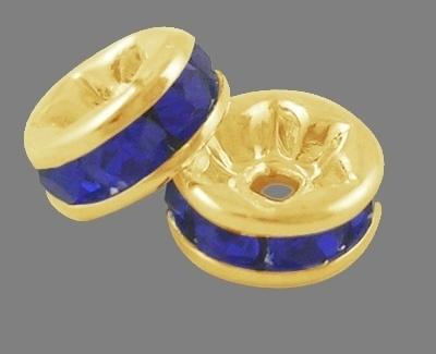 50 stuks kristal spacer verguld 8mm donker blauw gat 1mm
