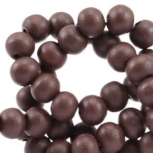 20 keer Houten Kralen Rond 6 mm Dark rich brown