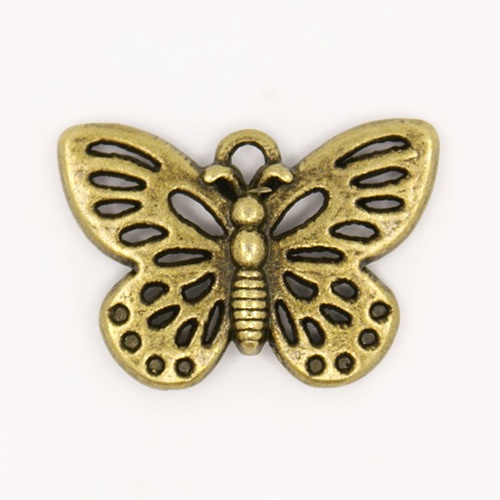 10x Prachtige tibetaans zilveren bedel van een vlinder 18 x 25 x 2mm Gat: 2mm geel koper