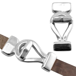 DQ metaal haaksluiting lus (voor DQ leer plat 10mm) Antiek zilver (nikkelvrij) ca. 42 x 18 mm (Ø 2.5x10.5mm)