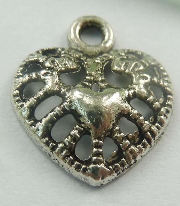 10x Tibetaans zilveren bedel van een hartje 14 x 12 x 3mm Gat: 1mm