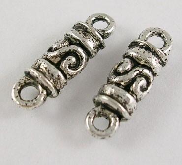 10 keer Prachtige Tibetaans zilveren tussenzetsels 5 x 17 x 4,2mm gat 1,5mm