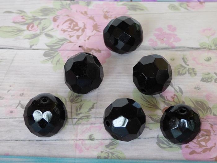 5 x Glaskraal Facet zwart ca. 14 mm
