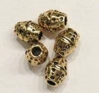 Per stuk Metalen Goudkleurige European Jewelry bedel kraal ovaal met deukjes 11 mm