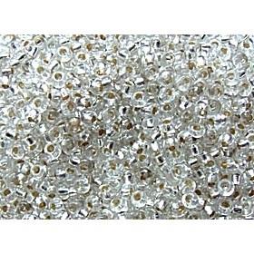 Zakje mooie rocailles 20 gram Seed Beads 8/0 3mm transparant zilverinslag