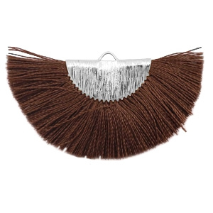 Kwastjes hanger Silver-chocolate brown