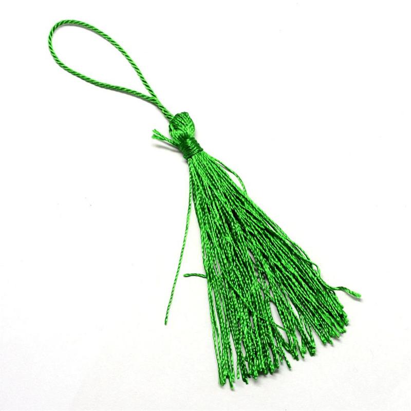 2 x Satijn kwast lengte kwast 9 cm incl. lus 130 x 6mm  green