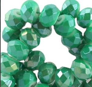 10 Stuks Glaskraal facet rondel met diamond coated green 8 x 6mm