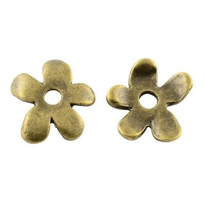 10 stuks schitterende tibetaans zilveren kralenkapjes 13 x 12 x 2mm Gat: 2mm geel koper kleur