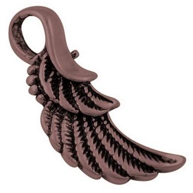 4 x  Tibetaans zilveren Engelen vleugeltje 32 x 11 x 3mm Gat: 7 x 4mm rood koper