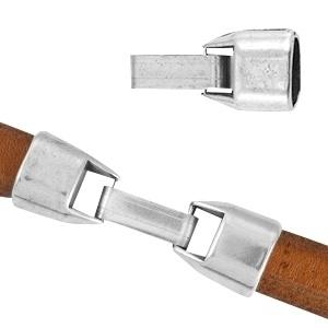 DQ metaal sluiting (voor Divino leer/koord) Antiek zilver (nikkelvrij) ca. 41x13mm (Ø10.4x7.2mm)