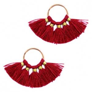 Kwastjes hanger Silver-port red