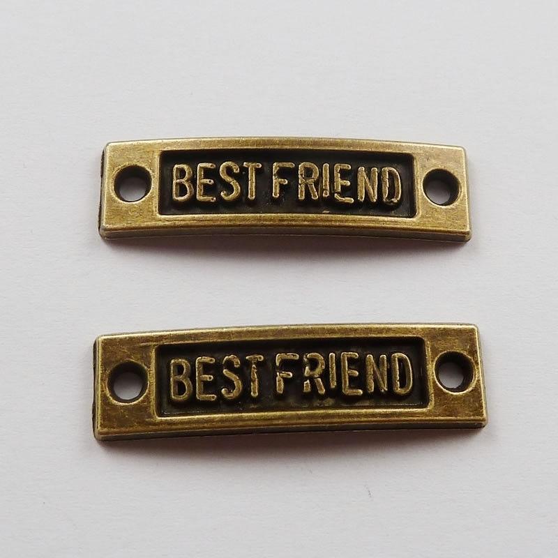 Bar link  tussenzetsel 35 x 10mm geel koper Best Friend gat 3mm