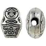 10 stuks Tibetaans zilveren matroesjka kraal 8 x 11 x 5 mm gat 0,5mm
