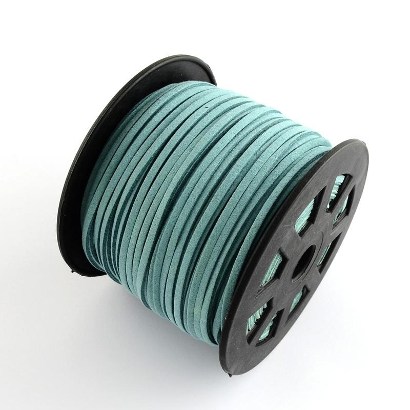 2 meter Faux suède veter  breed  3mm kleur: Medium Turquoise