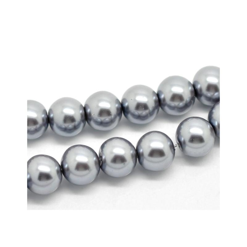 40 x prachtige glasparel kleur: grey 6mm