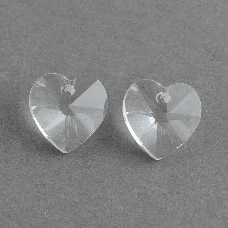 Prachtige kristal facet Hanger hart 18 x 18 x 8mm gat 1mm