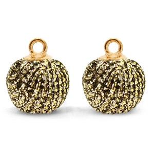 Nieuw! Pompom bedels met oog glitter 12mm Gold anthracite-gold