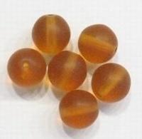 10 stuks Glaskraal rond mat Bruin 8 mm