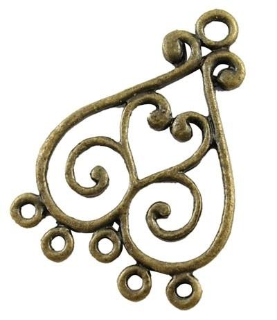 2 stuks Tibetaans zilveren hang ornamenten 33 x 22,5 x 1,5mm Gat: 2,5mm geel koper kleur