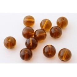 10 stuks Glaskraal rond amber 8 mm