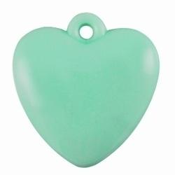 5x  Kunststof hanger hart pastel Emerald Groen. 20 mm