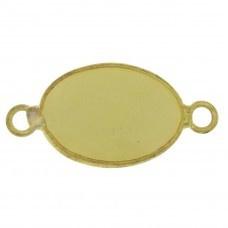 Prachtige facet geslepen tussenstuk edelsteen  ca. 16 x 32mm jade facet geel goud