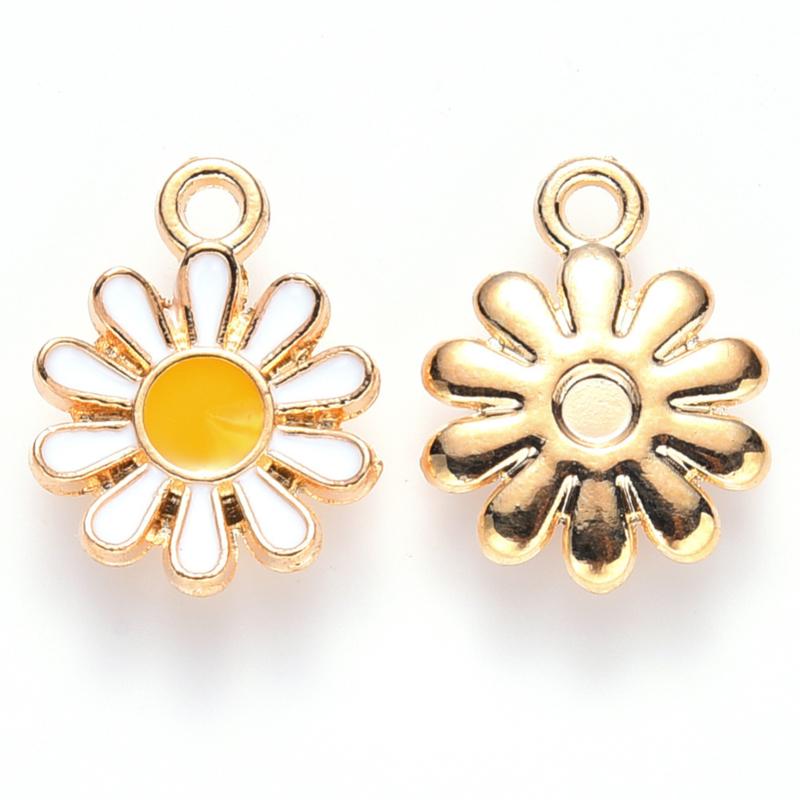 2 x vrolijke metalen bedels bloem wit geel 14 x 12mm