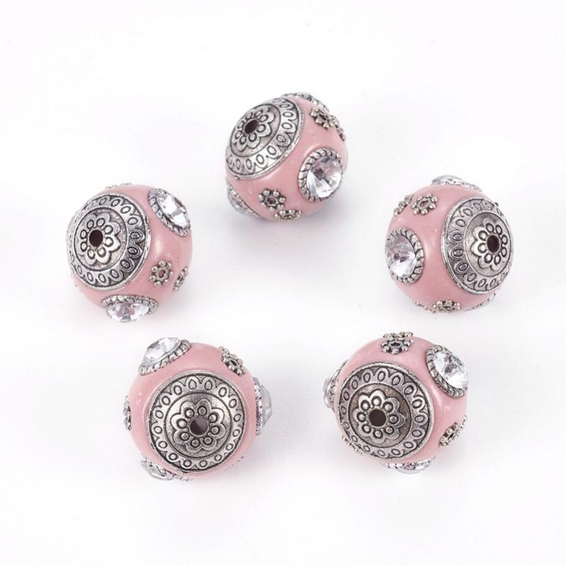 Schitterende handgemaakte Kashmiri kraal c.a. 20mm roze ingelegd met metaal & strass