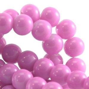 15 stuks Keramische Glaskralen 8mm Licht roze paars