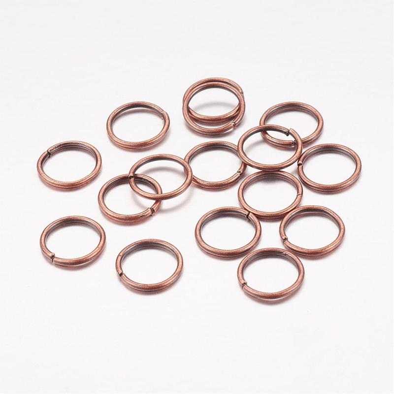 100 ringetjes 6mm Rood koper kleur 0,7mm dik