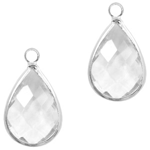 Per stuk Hangers van crystal glas druppel 10x14mm Transparent crystal-silver