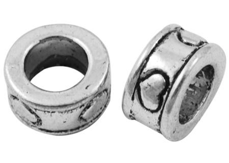 Tibetaans zilveren European Jewelry bedel  met hart 8 x 8  x 4mm gat: 5mm