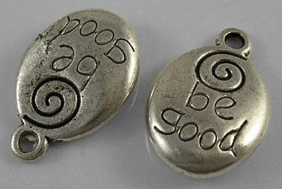 10x Tibetaans zilveren bedeltje Be good 20 x 12,5 x 5mm oogje 2mm