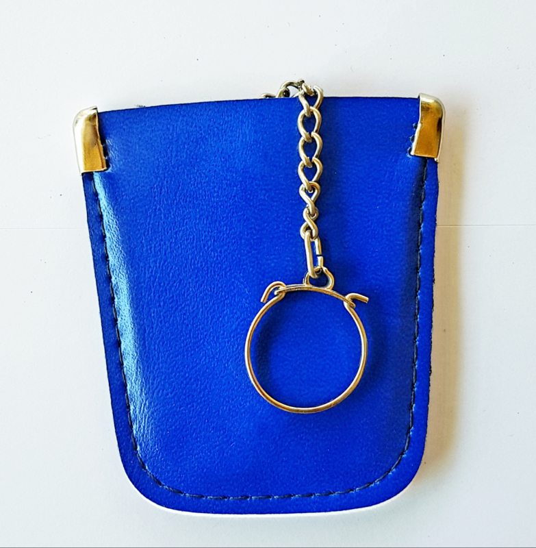 Sleutel etui - echt leder kleur blauw model A