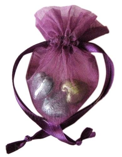 20 stuks luxe hartvormige organza zakjes 10cm x 8.75cm paars