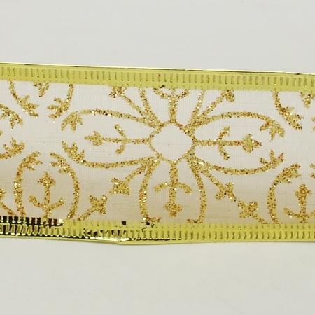 1 meter organza lint met goud glitter 38mm met metaaldraad