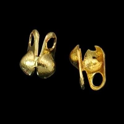10 stuks gesloten kalotjes 5 x 6mm oogje 1mm zijwaarts goudkleur. (Binnenmaat c.a. 2,4mm)