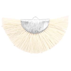 Kwastjes hanger Silver-off white