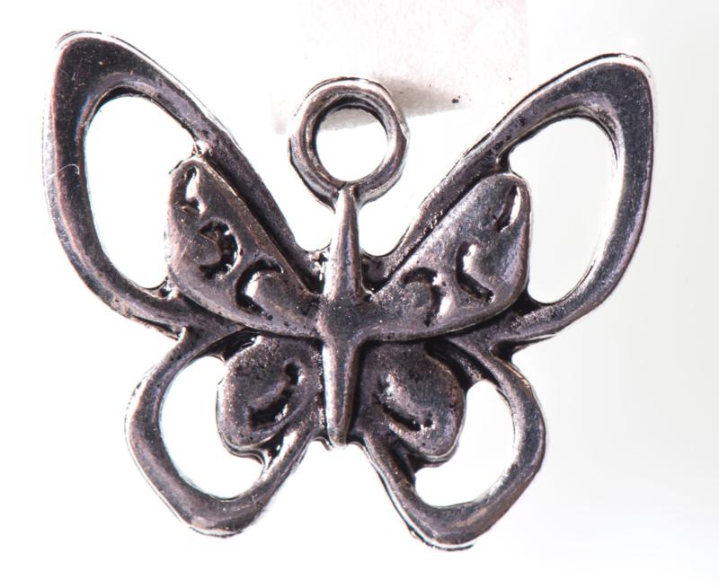 5x Prachtige tibetaans zilveren vlinder 17 x 20mm oogje: 2,3mm