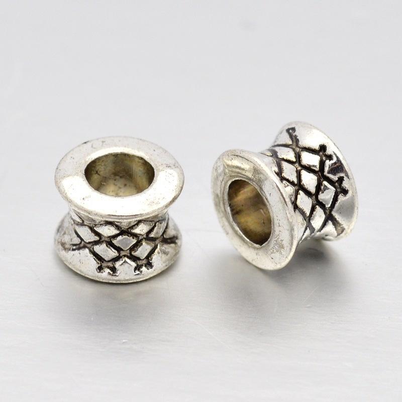 10 stuks spacer beads van Tibetaans zilver 7 x 5mm Gat: 4mm