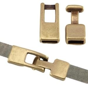DQ metaal haaksluiting (voor 5mm plat leer) geel koper (nikkelvrij)  ca. 28x8mm Ø 5.2x1.75mm