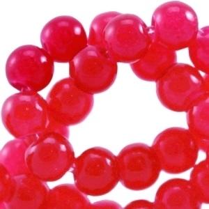 20 stuks  glaskralen opaal vintage 6 mm Raspberry wine red