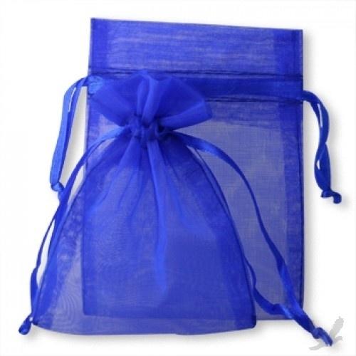 c.a. 100 stuks organza zakjes 7 x 9 cm donker blauw