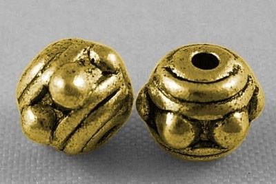 10 stuks tibetaans zilveren kraal 7mm x 5,5mm goudkleur