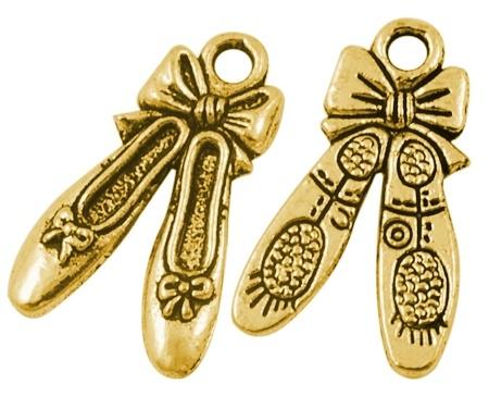 4 x Tibetaans zilveren ballet schoen bedel 21 x12 x2mm goud kleur