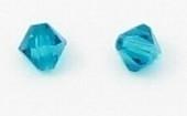 10 x Swarovski kristal bicone 6m Blue Zircon