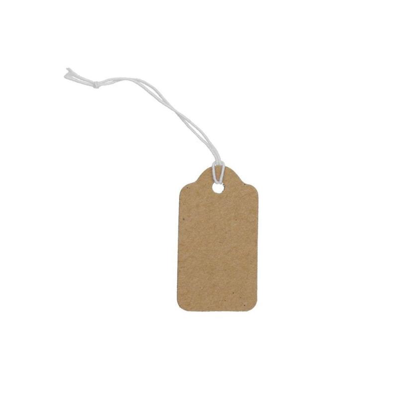 100 stuks blanco bruine labels prijskaartjes met wit touwtje van elastiek 18 x 35mm
