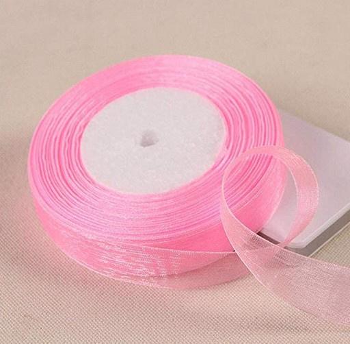 5 meter organza lint pink ribbon transparant 20 mm
