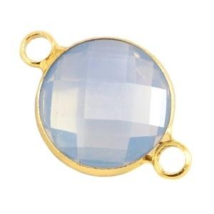 Crystal glas tussenstukken rond 12mm Light grey opal-Gold
